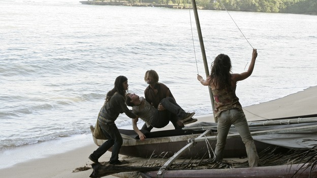 LOST - Awarded the 2005 Emmy and 2006 Golden Globe for best drama series, and a 2007 Golden Globe nomination for best drama series and best actress for Evangeline Lilly, &quot;Lost&quot; returns for the second act of its third season of action-packed mystery and adventure -- that will continue to bring out the very best and the very worst in the people who are lost -- WEDNESDAY, FEBRUARY 7 (10:00-11:00 p.m., ET), on the ABC Television Network. In the return episode, &quot;Not in Portland,&quot; Jack is in command as the fate of Ben's life literally rests in his hands. Meanwhile, Kate and Sawyer find an ally in one of &quot;The Others,&quot; and Juliet makes a shocking decision that could endanger her standing with her people. (ABC/MARIO PEREZ)TANIA RAYMONDE, BLAKE BASHOFF, JOSH HOLLOWAY, EVANGELINE LILLY