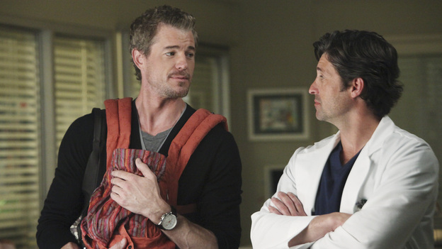"GREY'S ANATOMY - ""I Will Survive"" - Personal and work pressures are adding up and have Meredith visibly on edge, Owen conducts formal interviews for the Chief Resident position, Cristina grows increasingly defiant, Alex and Lucy's undefined relationship gets tested, and Jackson suddenly backs out of the Webber's diabetes trial, on ""Grey's Anatomy,"" THURSDAY, MAY 12 (9:00-10:01 p.m., ET) on the ABC Television Network. (ABC/DANNY FELD)ERIC DANE, PATRICK DEMPSEY"