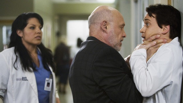 "GREY'S ANATOMY - ""Sweet Surrender"" - Mr. Torres prepares to put the hurt on his former son-in-law, on ""Grey's Anatomy,"" THURSDAY, APRIL 23 (9:00-10:02 p.m., ET) on the ABC Television Network. (ABC/RANDY HOLMES) SARA RAMIREZ, HECTOR ELIZONDO, T.R. KNIGHT"