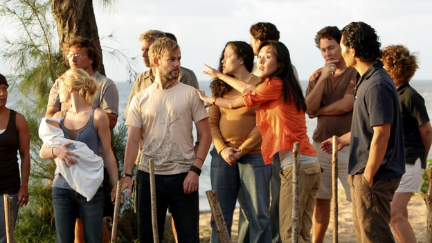 "LOST -- ""Three Minutes"" - A determined Michael convinces Jack and several castaways to help him rescue Walt from ""The Others."" Meanwhile, Charlie struggles with Eko's decision to discontinue building the church, on ""Lost,"" WEDNESDAY, MAY 17 (9:00-10:01 p.m., ET), on the ABC Television Network. (ABC/MARIO PEREZ)EMILIE DE RAVIN, DOMINIC MONAGHAN, YUNJIN KIM, DANIEL DAE KIM"