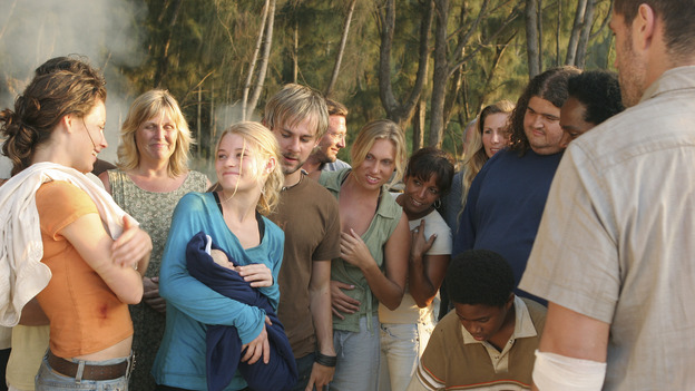 "LOST - ""The Greater Good"" - Claire and baby Aaron. After burying one of their own, tempers flare as the castaways' suspicions of each other grow, on ""Lost,"" THURSDAY, MAY 4 on the ABC Television Network. (ABC/MARIO PEREZ) DOMINIC MONAGHAN EVANGELINE LILLY, EMILIE DE RAVIN, DOMINIC MONAGHAN, JORGE GARCIA, MALCOLM DAVID KELLEY, HAROLD PERRINEAU, MATTHEW FOX"