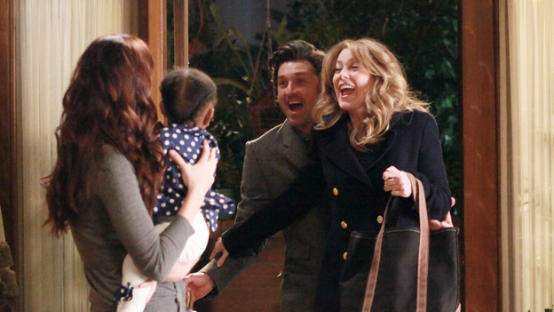 Meredith and Derek Adopt Baby ZolaDerek and Meredith met baby Zola and were so taken by her, that they began the adoption process. The problem was, the news of Meredith's firing reached the counselor and put the adoption in jeopardy. Meredith didn't know what to do and took Zola. After hemming and hawing for some time, she called Cristina for help. They decided to return Zola to the counselor and tell her that she was just having a checkup after some routine labs. Too bad the red flags were already waved and Zola was taken away. Later, it became even more intense when Zola was admitted after having seizures. Derek and Meredith were so beside themselves after learning this, that they risked the adoption just to find out how she was doing. Elsewhere and unbeknownst to them, Alex tracked down and convinced a sick judge to give them a hearing. It was nothing but good news after that because Zola legally became Derek and Meredith's daughter!