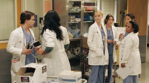 "GREY'S ANATOMY - ""Walk on Water"" - Beginning February 8, Grey's Anatomy enters a three-episode story arc that will challenge the interns of Seattle Grace -- and ""Grey's"" fans as well -- like never before. ""Walk on Water"" airs THURSDAY, FEBRUARY 8 (9:00-10:00 p.m., ET) on the ABC Television Network. Elizabeth Reaser (Independent Spirit Award winner for ""Sweet Land"") guest stars as a patient over multiple episodes. (ABC/VIVIAN ZINK)T.R. KNIGHT, SARA RAMIREZ, KATHERINE HEIGL, ELLEN POMPEO, SANDRA OH, CHANDRA WILSON"