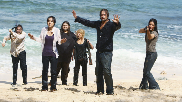 "LOST - ""The Last Recruit"" - Alliances are forged and broken as the Locke and Jack camps merge, on ""Lost,"" TUESDAY, APRIL 20 (9:00-10:02 p.m., ET) on the ABC Television Network. (ABC/MARIO PEREZ) JEFF FAHEY, YUNJIN KIM, JORGE GARCIA, EMILIE DE RAVIN, JOSH HOLLOWAY, EVANGLINE LILLY"