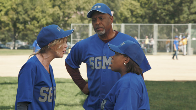 GREY'S ANATOMY - &quot;Put Me In, Coach&quot; - Owen stresses teamwork and moves his leadership role over to the baseball field when he signs the doctors up for a baseball league, pitting them against their biggest competition, Seattle Presbyterian; Lexie tries to hide her jealous rage when she sees Mark with a new woman, but her emotions get the better of her; Alex fights to keep Zola at Seattle Grace after it is suggested that she be moved to another hospital due to a conflict of interest with Meredith and Derek; and Richard scolds Meredith and Bailey for their feud, on Grey's Anatomy, THURSDAY, OCTOBER 27 (9:00-10:02 p.m., ET) on the ABC Television Network. (ABC/RICHARD CARTWRIGHT)ELLEN POMPEO, JAMES PICKENS JR., CHANDRA WILSON