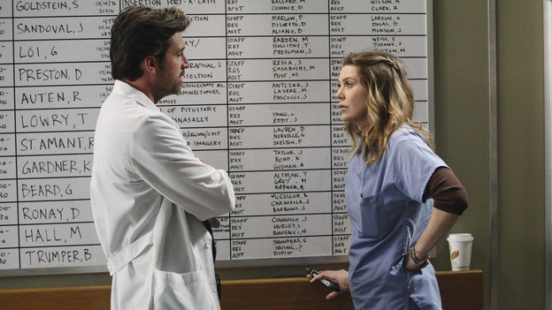 "GREY'S ANATOMY - ""Superfreak"" - When Derek receives an unexpected and unwelcome visit from his estranged sister, Amelia, issues between the siblings -- both past and present -- come to the surface; the Chief tries to help Alex when he notices that he's refusing to use the elevators after his near-fatal shooting; and Meredith and Derek continue their efforts to ease Cristina back into surgery after her post-traumatic stress, on ""Grey's Anatomy,"" THURSDAY, OCTOBER 7 (9:00-10:01 p.m., ET) on the ABC Television Network. (ABC/RICHARD CARTWRIGHT)PATRICK DEMPSEY, ELLEN POMPEO"