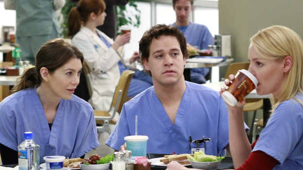 "GREY'S ANATOMY - ""Scars and Souvenirs"" - The race for chief heats up after a new competitor enters the fray, tensions escalate between Izzie and George, and Callie must reveal a big secret. Meanwhile, Derek treats a patient near and dear to him, while Alex continues his work with Jane Doe, on ""Grey's Anatomy,"" THURSDAY, MARCH 15 (9:00-10:01 p.m., ET) on the ABC Television Network. (ABC/RON TOM)ELLEN POMPEO, T.R. KNIGHT, KATHERINE HEIGL"