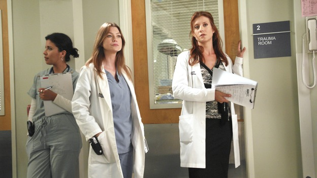 GREY'S ANATOMY - &quot;Oh, The Guilt&quot; - Bailey treats a young mother battling breast cancer, Derek learns more about Mark and Addison's relationship, the interns defend a resident's competence at a hospital staff meeting, and Meredith and Addison examine a couple who find themselves in a rather awkward position, on &quot;Grey's Anatomy,&quot; THURSDAY, OCTOBER 19 (9:00-10:01 p.m., ET) on the ABC Television Network. (ABC/RICHARD CARTWRIGHT)ELLEN POMEO, KATE WALSH