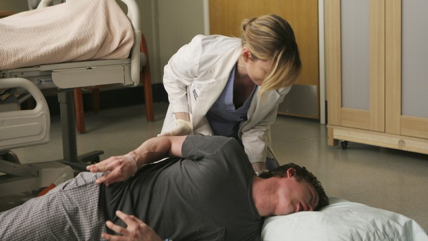 "GREY'S ANATOMY - ""Freedom"" - On the two-hour season finale of ""Grey's Anatomy,"" Meredith and Derek have one last shot at a successful outcome in their clinical trial, as the other surgeons work together to free a boy from a hardening block of cement. Meanwhile, Izzie helps Alex care for an ailing Rebecca, and Lexie discovers critical information about George's intern status, on ""Grey's Anatomy,"" THURSDAY, MAY 22 (9:00-11:00 p.m., ET) on the ABC Television Network. (ABC/MICHAEL DESMOND)ELLEN POMPEO, MARSHALL ALLMAN"
