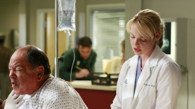 GREY'S ANATOMY - &quot;Where the Wild Things Are&quot; - Six weeks after Derek and Meredith ended their relationship and Derek began dating Rose, Meredith and her fellow residents, Alex, Izzie and Cristina, compete in a surgical contest, with Bailey serving as judge. Meanwhile interns George and Lexie adjust to their new, squalid apartment, and Callie finds a friend in her roommate Cristina's nemesis, Erica Hahn, on &quot;Grey's Anatomy,&quot; THURSDAY, APRIL 24 (9:00-10:01 p.m., ET) on the ABC Television Network. (ABC/RON TOM)CHEECH MARIN, KATHERINE HEIGL