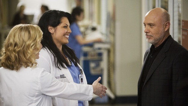 "GREY'S ANATOMY - ""Sweet Surrender"" - Arizona Robbins introduces herself to Mr. Torres as Callie's new love interest, on ""Grey's Anatomy,"" THURSDAY, APRIL 23 (9:00-10:02 p.m., ET) on the ABC Television Network. (ABC/RANDY HOLMES) JESSICA CAPSHAW, SARA RAMIREZ, HECTOR ELIZONDO"