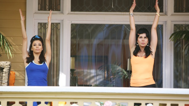 "DESPERATE HOUSEWIVES - ""Thank You So Much"" - Edie thinks that Karl is going to pop the question, but he's really trying to marry Susan, Carlos learns more about the fractured relationship between Gabrielle and her mother, Lucia (guest star Maria Conchita Alonso), and Lynette learns the extent of Bree's problem with alcohol, on ""Desperate Housewives,"" SUNDAY, FEBRUARY 19 (9:00-10:00 p.m., ET) on the ABC Television Network. (ABC/DANNY FELD)EVA LONGORIA, MARIA CONCHITA ALONSO"