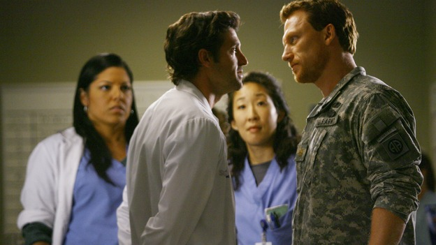 "GREY'S ANATOMY - ""Dream a Little Dream of Me"" - Derek takes issue with some of the Army medic Owen Hunt's methods, but he can't argue with the results, on ""Grey's Anatomy,"" THURSDAY, SEPTEMBER 25 (9:00-11:00 p.m., ET) on the ABC Television Network. (ABC/SCOTT GARFIELD) SARA RAMIREZ, PATRICK DEMPSEY, SANDRA OH, KEVIN McKIDD"