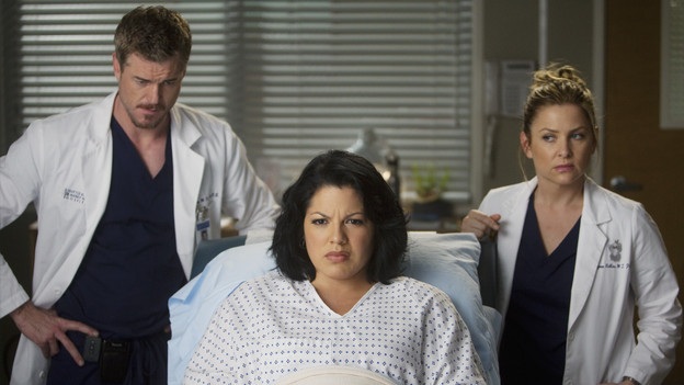 "GREY'S ANATOMY - ""Don't Deceive Me (Please Don't Go)"" - Derek breaks ground on his Alzheimer's clinical trial and Meredith can't help but feel left out; Bailey's attempt to take the hospital into the age of new media with live tweets from the OR does not go over well with the Chief; and Callie, Mark and Arizona must learn to navigate through the pregnancy together, which starts off with Callie driving her new obstetrician (guest star Rachael Taylor) crazy, on ""Grey's Anatomy,"" THURSDAY, FEBRUARY 3 (9:00-10:01 p.m., ET) on the ABC Television Network. (ABC/RANDY HOLMES)ERIC DANE, SARA RAMIREZ, JESSICA CAPSHAW"