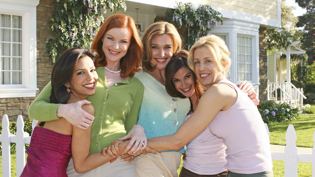 DESPERATE HOUSEWIVES - &quot;One Wonderful Day&quot; - It's a not-so-wonderful day in the neighborhood, as past actions come back to haunt the men and women of Wisteria Lane. Meanwhile, the ladies get a new neighbor (Emmy winner Alfre Woodard as Betty Applewhite), on &quot;Desperate Housewives,&quot; SUNDAY, MAY 22 (9:00-10:02 p.m., ET), on the ABC Television Network. (ABC/DANNY FELD) EVA LONGORIA, MARCIA CROSS, BRENDA STRONG, TERI HATCHER, FELICITY HUFFMAN - BEHIND THE SCENES