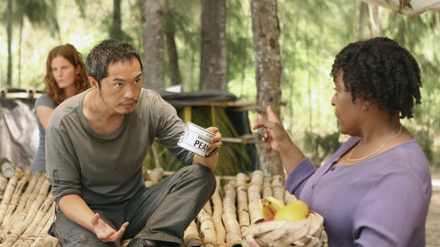 "LOST - ""Cabin Fever"" - Miles helps himself to some food when Rose asks him, ""Who told you you could eat those peanuts?"" When Miles responds flippantly, ""May I eat these peanuts?"" Rose retorts, ""I'm gonna keep my eye on you, shorty,"" on ""Lost,"" THURSDAY, MAY 8 (10:02-11:00 p.m., ET) on the ABC Television Network. (ABC/MARIO PEREZ) REBECCA MADER, KEN LEUNG, L. SCOTT CALDWELL"