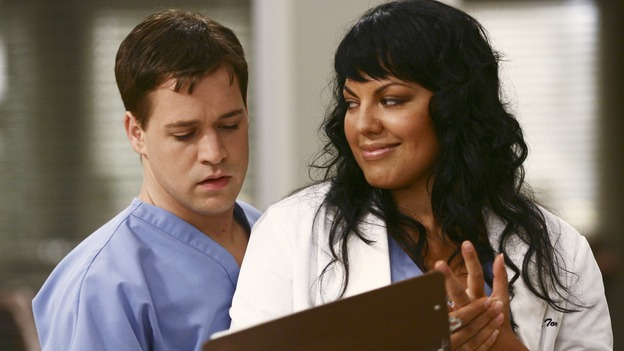 "GREY'S ANATOMY - ""I Am a Tree"" - Cristina meets Burke's parents -- and in the most awkward of circumstances -- the interns campaign for Izzie's reinstatement to the surgical intern program, Addison takes a break from her hospital duties, and a surgical patient lives what may be her last day to the fullest, on ""Grey's Anatomy,"" THURSDAY, SEPTEMBER 28 (9:00-10:01 p.m., ET) on the ABC Television Network. (ABC/SCOTT GARFIELD)T.R. KNIGHT, SARA RAMIREZ"