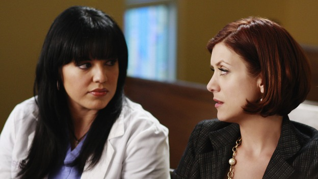 "GREY'S ANATOMY - ""Before and After"" - Callie and Addison pray for Archer in the chapel, on ""Grey's Anatomy,"" THURSDAY, FEBRUARY 12 (9:00-10:02 p.m., ET) on the ABC Television Network. (ABC/RON TOM) SARA RAMIREZ, KATE WALSH"