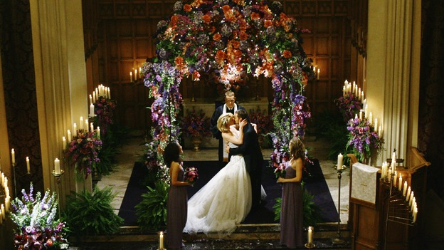 "GREY'S ANATOMY - ""What a Difference a Day Makes"" - You may now kiss the bride! Alex and Izzie are married, on ""Grey's Anatomy,"" THURSDAY, MAY 7 (9:00-10:02 p.m., ET) on the ABC Television Network. SANDRA OH, KATHERINE HEIGL, MICKEY MAXWELL, JUSTIN CHAMBERS, ELLEN POMPEO"