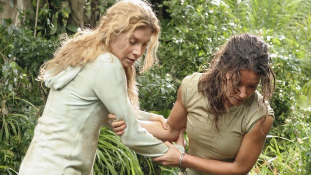 "LOST - ""Left Behind"" - After discovering that one of her own has betrayed her to ""The Others,"" Kate is left to fend for herself in the jungle with Juliet. Meanwhile, Hurley warns Sawyer to change his selfish ways and make amends with his fellow survivors or he may face a vote of banishment, on ""Lost,"" WEDNESDAY, APRIL 4 (10:00-11:00 p.m., ET), on the ABC Television Network. (ABC/MARIO PEREZ)ELIZABETH MITCHELL, EVANGELINE LILLY"