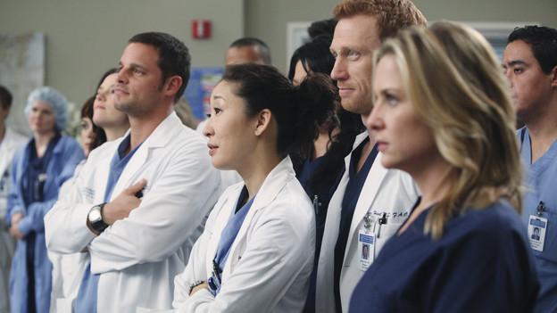"GREY'S ANATOMY - ""State of Love and Trust"" - As Derek begins his role as interim chief, he faces a potential lawsuit when Bailey and Meredith's patient awakens from anesthesia mid-surgery. Meanwhile, Teddy refuses to place Cristina on her service, as Arizona tests Alex out in Pediatrics, and Mark refuses to speak to a heartbroken Lexie, on ""Grey's Anatomy,"" THURSDAY, FEBRUARY 4 (9:00-10:01 p.m., ET) on the ABC Television Network. (ABC/ADAM LARKEY) CHYLER LEIGH, JUSTIN CHAMBERS, SANDRA OH, KEVIN MCKIDD, JESSICA CAPSHAW"