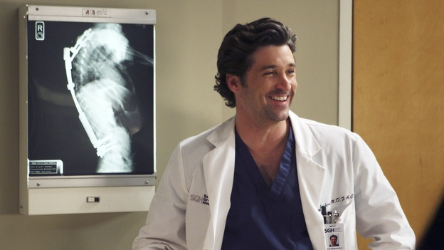 "GREY'S ANATOMY - ""Six Days"" - After a successful operation on his heart, George's father undergoes surgery for his cancer, Thatcher Grey visits Seattle Grace in order to see his new granddaughter, and Meredith discovers that Derek has trouble sleeping soundly, on ""Grey's Anatomy,"" THURSDAY, JANUARY 4 (9:00-10:01 p.m., ET) on the ABC Television Network. (ABC/MICHAEL DESMOND)PATRICK DEMPSEY"
