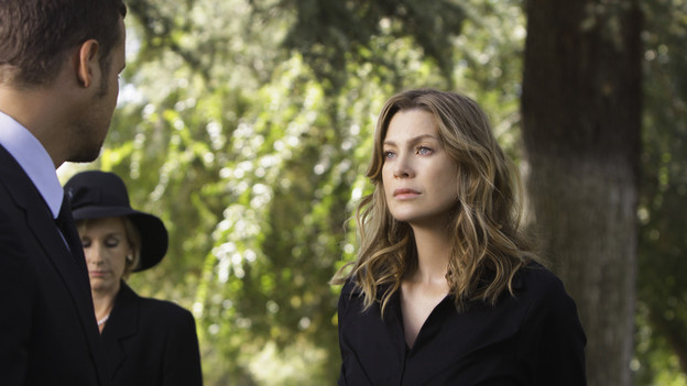"GREY'S ANATOMY - ""Good Mourning"" - ""Grey's Anatomy"" returns for its sixth season with a two-hour event on THURSDAY, SEPTEMBER 24 (9:00-11:00 p.m., ET) on the ABC Television Network. In the first hour, entitled ""Good Mourning"" (9:00-10:00 p.m.), the hospital staff is left to deal with the aftermath of George's passing. Hitting the staff hard, they all find unique ways to get through the various stages of grief. George's mom returns, faced with the difficult task of deciding what to do with his organs. In the second episode, entitled ""Goodbye"" (10:00-11:00 p.m.), time has passed... Everyone is struggling after losing one of their own and are turning to any distraction they can find. Meredith and Derek seem to be consummating their marriage anywhere and everywhere, while Cristina and Owen have been instructed to abstain from sex by Dr. Wyatt. (ABC/MICHAEL DESMOND)JUSTIN CHAMBER, ELLEN POMPEO"