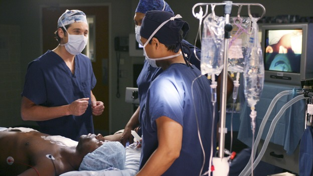 GREY'S ANATOMY - In the first hour of part two of the season finale of ABC's &quot;Grey's Anatomy&quot; -- &quot;Deterioration of the Fight or Flight Response&quot; -- Izzie and George attend to Denny as the pressure increases to find him a new heart, Cristina suddenly finds herself in charge of an ER, and Derek grapples with the realization that the life of a friend is in his hands. In the second hour, &quot;Losing My Religion,&quot; Richard goes into interrogation mode about a patient's condition, Callie confronts George about his feelings for her, and Meredith and Derek meet about Doc. Part two of the season finale of &quot;Grey's Anatomy&quot; airs MONDAY, MAY 15 (9:00-11:00 p.m., ET) on the ABC Television Network. (ABC/SCOTT GARFIELD)PATRICK DEMPSEY, ISAIAH WASHINGTON, JAMES PICKENS, JR. 