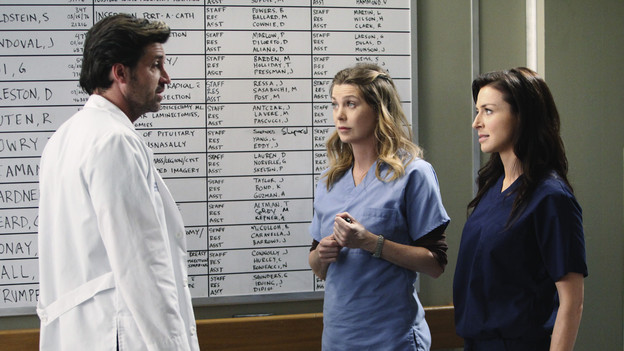 GREY'S ANATOMY - &quot;Superfreak&quot; - When Derek receives an unexpected and unwelcome visit from his estranged sister, Amelia, issues between the siblings -- both past and present -- come to the surface; the Chief tries to help Alex when he notices that he's refusing to use the elevators after his near-fatal shooting; and Meredith and Derek continue their efforts to ease Cristina back into surgery after her post-traumatic stress, on &quot;Grey's Anatomy,&quot; THURSDAY, OCTOBER 7 (9:00-10:01 p.m., ET) on the ABC Television Network. (ABC/RICHARD CARTWRIGHT)PATRICK DEMPSEY, ELLEN POMPEO, CATERINA SCORSONE