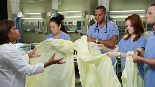 "GREY'S ANATOMY - ""She's Gone"" - In the second hour, ""She's Gone"" (10:00-11:00 p.m.), news of Meredith and Derek's unsteady relationship raises a red flag for Zola's adoption counselor; Alex quickly realizes that he has become the outcast of the group after ratting out Meredith; and Cristina makes a tough decision regarding her unexpected pregnancy. Also, Chief Webber brings Henry in for a last minute surgery, alarming Teddy. ""Grey's Anatomy"" returns for its eighth season with a two-hour event THURSDAY, SEPTEMBER 22 (9:00-11:00 p.m., ET) on the ABC Television Network. (ABC/RON TOM)CHANDRA WILSON, SANDRA OH, JESSE WILLIAMS, SARAH DREW, JUSTIN CHAMBERS"