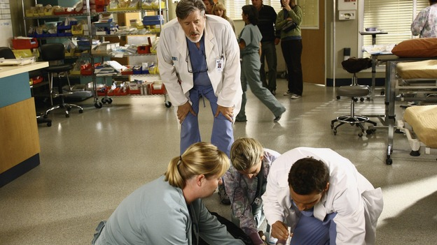 "GREY'S ANATOMY - ""Let the Truth Sting"" - The new interns are dazzled by the skill level of fellow intern George, while Lexie helps keep his ""repeater"" status a secret; Meredith half-heartedly helps Lexie with her first emergency patient; Sloan and Richard attempt a radical, new surgery to save a woman's ability to speak; and George is compelled to tell Callie of his past indiscretion with Izzie, on ""Grey's Anatomy,"" THURSDAY, OCTOBER 11 (9:00-10:01 p.m., ET) on the ABC Television Network. (ABC/SCOTT GARFIELD)EDWARD HERRERA, MARTIN SPANJERS, JUSTIN CHAMBERS"