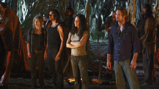 "LOST - ""Everybody Loves Hugo"" - Hurley agonizes over what the group should do next, and Locke is curious about the new arrival to his camp, on ""Lost,"" TUESDAY, APRIL 13 (9:00-10:02 p.m., ET) on the ABC Television Network. (ABC/MARIO PEREZ) EMILIE DE RAVIN, NAVEEN ANDREWS, EVANGELINE LILLY, JOSH HOLLOWAY"