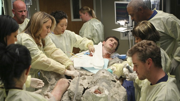 "GREY'S ANATOMY - ""Freedom"" - On the two-hour season finale of ""Grey's Anatomy,"" Meredith and Derek have one last shot at a successful outcome in their clinical trial, as the other surgeons work together to free a boy from a hardening block of cement. Meanwhile, Izzie helps Alex care for an ailing Rebecca, and Lexie discovers critical information about George's intern status, on ""Grey's Anatomy,"" THURSDAY, MAY 22 (9:00-11:00 p.m., ET) on the ABC Television Network. (ABC/MICHAEL DESMOND)SARA RAMIREZ, BROOKE SMITH, SANDRA OH, JAMES IMMEKUS, JAMES PICKENS JR., CHANDRA WILSON, ERIC DANE"