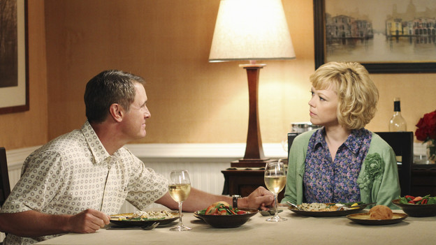"DESPERATE HOUSEWIVES - ""You Must Meet My Wife"" -  After Renee begins spending a lot of time with Tom, an angry Lynette feels she's trying to sabotage their marriage; Bree fires Keith (Brian Austin Green) without warning when she suddenly finds herself falling for him; Susan is wracked with guilt about lying to Mike about her new, risqu side job; Gabrielle rushes to the hospital after learning that Bree accidentally hit Juanita with the car; and Paul introduces the women of Wisteria Lane to his new wife, on ""Desperate Housewives,"" SUNDAY, OCTOBER 3 (9:00-10:01 p.m., ET) on the ABC Television Network. (ABC/RON TOM)MARK MOSES, EMILY BERGL"