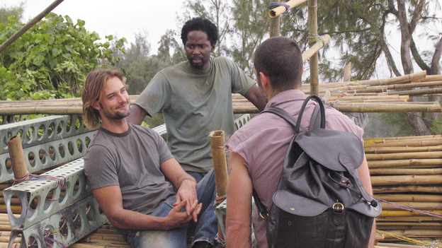 "LOST - ""Outlaws"" - Kate and Sawyer divulge dark secrets to each other while tracking a renegade boar that Sawyer swears is purposely harassing him. Meanwhile, Hurley and Sayid worry that Charlie is losing it after his brush with death, and a shocking, prior connection between Sawyer and Jack is revealed. Robert Patrick (""Terminator 2: Judgment Day,"" ""The X-Files"") guest stars, on ""Lost,"" WEDNESDAY, FEBRUARY 16 (8:00-9:02 p.m., ET), on the ABC Television Network. (ABC/MARIO PEREZ) JOSH HOLLOWAY, HAROLD PERRINEAU, MATTHEW FOX"