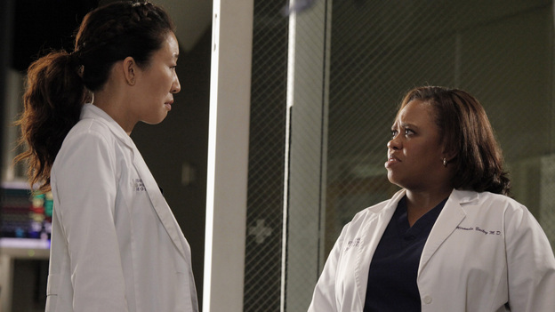 "GREY'S ANATOMY - ""I Was Made for Lovin' You"" - Cristina and Owen continue to figure out their relationship amidst the pending lawsuit; and Bailey argues with Ben over plans for their upcoming nuptials. Meanwhile, Callie recruits Jackson to help find a solution to Derek's hand, but he is preoccupied by a shocking situation with April, on ""Grey's Anatomy,"" THURSDAY, NOVEMBER 29 (9:00-10:02 p.m., ET) on the ABC Television Network. (ABC/RICHARD CARTWRIGHT)SANDRA OH, CHANDRA WILSON"