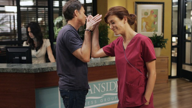 "PRIVATE PRACTICE - ""In Which We Meet Addison, A Nice Girl From Somewhere"" - At the invitation of her friend, fertility specialist Naomi Bennett, Addison leaves her job in Seattle and heads to Los Angeles to start a new job at Oceanside Wellness Group and to begin a new life. Not expecting Addison's arrival are Naomi's business partners at the co-op wellness center, her ex-husband, internist Sam Bennett, psychiatrist Violet Turner, pediatrician Cooper Freedman and alternative medicine guru Pete Wilder (who is convinced Addison is there because of their recent kiss). On her first day, Addison is presented a case that could make or break her acceptance among the Oceanside staff, on the premiere of ""Private Practice,"" WEDNESDAY, SEPTEMBER 26 (9:00-10:01 p.m., ET) on the ABC Television Network. (ABC/CRAIG SJODIN)TIM DALY, KATE WALSH"