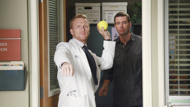 GREY'S ANATOMY - &quot;Put Me In, Coach&quot; - Owen stresses teamwork and moves his leadership role over to the baseball field when he signs the doctors up for a baseball league, pitting them against their biggest competition, Seattle Presbyterian; Lexie tries to hide her jealous rage when she sees Mark with a new woman, but her emotions get the better of her; Alex fights to keep Zola at Seattle Grace after it is suggested that she be moved to another hospital due to a conflict of interest with Meredith and Derek; and Richard scolds Meredith and Bailey for their feud, on Grey's Anatomy, THURSDAY, OCTOBER 27 (9:00-10:02 p.m., ET) on the ABC Television Network. (ABC/RICHARD CARTWRIGHT)KEVIN MCKIDD, SCOTT FOLEY