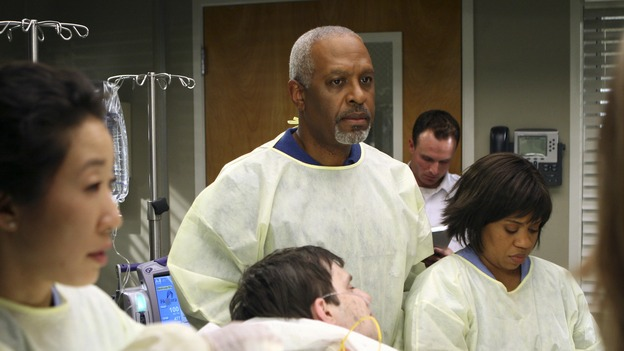 "GREY'S ANATOMY - ""Freedom"" - On the two-hour season finale of ""Grey's Anatomy,"" Meredith and Derek have one last shot at a successful outcome in their clinical trial, as the other surgeons work together to free a boy from a hardening block of cement. Meanwhile, Izzie helps Alex care for an ailing Rebecca, and Lexie discovers critical information about George's intern status, on ""Grey's Anatomy,"" THURSDAY, MAY 22 (9:00-11:00 p.m., ET) on the ABC Television Network. (ABC/MICHAEL DESMOND)SANDRA OH, JAMES PICKENS JR., CHANDRA WILSON"