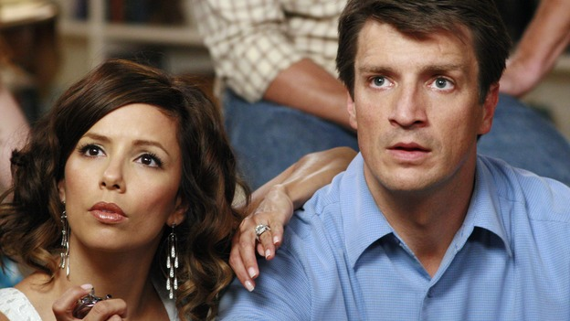 "DESPERATE HOUSEWIVES - ""The Game"" - Gabrielle and Adam get flirty during the game. SUNDAY, OCTOBER 14 (9:00-10:01 p.m., ET) on the ABC Television Network. (ABC/RON TOM) EVA LONGORIA, NATHAN FILLION"