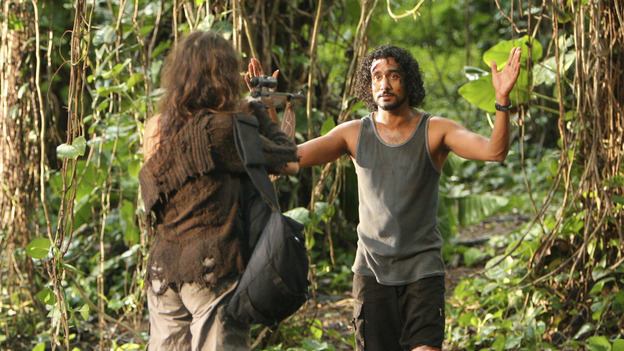 "LOST - ""Solitary"" - Sayid's life is placed in grave danger after he stumbles upon the source of the mysterious French transmission. Meanwhile, Hurley has a ridiculous plan to make life on the island a little more civilized -- and it just might work -- on ""Lost,"" WEDNESDAY, NOVEMBER 17 (8:00-9:00 p.m., ET), on the ABC Television Network. (ABC/MARIO PEREZ) MIRA FURLAN, NAVEEN ANDREWS"