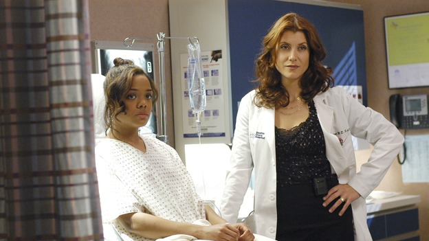 "GREY'S ANATOMY - In the first hour of part two of the season finale of ABC's ""Grey's Anatomy"" -- ""Deterioration of the Fight or Flight Response"" -- Izzie and George attend to Denny as the pressure increases to find him a new heart, Cristina suddenly finds herself in charge of an ER, and Derek grapples with the realization that the life of a friend is in his hands. In the second hour, ""Losing My Religion,"" Richard goes into interrogation mode about a patient's condition, Callie confronts George about his feelings for her, and Meredith and Derek meet about Doc. Part two of the season finale of ""Grey's Anatomy"" airs MONDAY, MAY 15 (9:00-11:00 p.m., ET) on the ABC Television Network. (ABC/GALE ADLER)TESSA THOMPSON, KATE WALSH"
