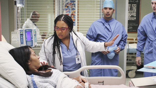 "GREY'S ANATOMY - ""The Time Warp"" - In his new role as Chief, Derek restores the hospital lecture series, and Richard, Bailey and Callie present to the group pivotal surgical cases from their pasts - Bailey reflects on her first days as a shy resident, Callie looks back on a polio case, and Richard recalls a case in which he and Ellis worked on a patient diagnosed with GRID, a virus later called AIDS -- on ""Grey's Anatomy,"" THURSDAY, FEBRUARY 18 (9:00-10:01 p.m., ET) on the ABC Television Network. (ABC/RON TOM)RACHEL NICKS, CHANDRA WILSON"