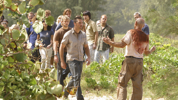 "LOST - ""The Greater Good"" - After burying one of their own, tempers flare as the castaways' suspicions of each other grow, on ""Lost,"" THURSDAY, MAY 4 on the ABC Television Network. (ABC/MARIO PEREZ) YUNJIN KIM, JOSH HOLLOWAY, DOMINIC MONAGHAN, MATTHEW FOX, TERRY O' QUINN"