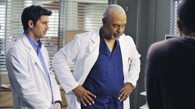"GREY'S ANATOMY - ""Perfect Little Accident"" - When famous surgeon Dr. Harper Avery is rushed to Seattle Grace-Mercy West, the staff is surprised to discover that one of their own is related to this legend, and his unorthodox request for his surgery causes tensions between Derek and Richard. Meanwhile Callie and Arizona try to help Teddy and Sloan move on from their pasts and find greener pastures, on ""Grey's Anatomy,"" THURSDAY, MARCH 4 (9:00-10:01 p.m., ET) on the ABC Television Network. (ABC/ERIC MCCANDLESS)PATRICK DEMPSEY, JAMES PICKENS JR."