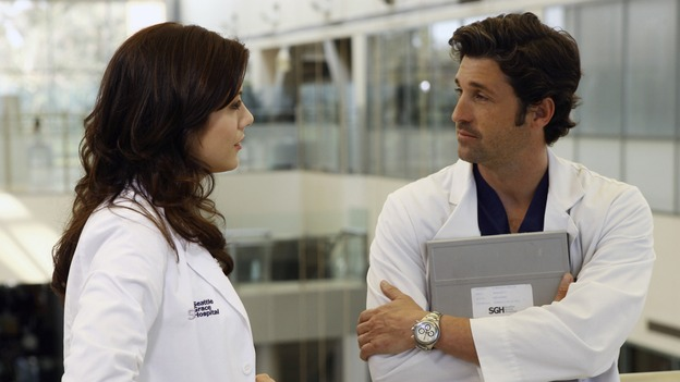 "GREY'S ANATOMY - ""Piece of My Heart"" - Addison returns to Seattle Grace to perform an operation and is taken aback by all of the changes in her old co-workers' lives. Meanwhile Meredith and Derek's clinical trial has its first patient, and Rebecca/Ava returns with shocking news for Alex, on ""Grey's Anatomy,"" THURSDAY, MAY 1 (9:00-10:01 p.m., ET) on the ABC Television Network.  (ABC/SCOTT GARFIELD)KATE WALSH, PATRICK DEMPSEY"