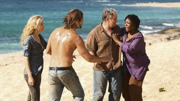 LOST - Awarded the 2005 Emmy and 2006 Golden Globe for Best Drama Series, &quot;Lost&quot; returns for its fifth season of action-packed mystery and adventure -- that will continue to bring out the very best and the very worst in the people who are lost, WEDNESDAY, JANUARY 21 (9:00-11:00 p.m., ET) on the ABC Television Network. In the first part of the season premiere, entitled &quot;Because You Left,&quot; the remaining island survivors start to feel the effects of the aftermath of moving the island, and Jack and Ben begin their quest to reunite the Oceanic 6 in order to return to the island with Locke's body in an attempt to save their former fellow castaways. (ABC/MARIO PEREZ)ELIZABETH MITCHELL, JOSH HOLLOWAY, SAM ANDERSON, L. SCOTT CALDWELL