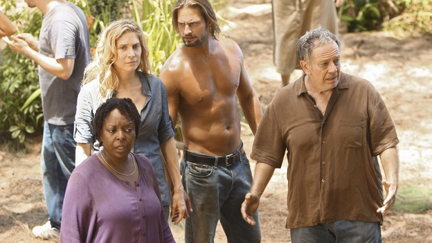 LOST - Awarded the 2005 Emmy and 2006 Golden Globe for Best Drama Series, &quot;Lost&quot; returns for its fifth season of action-packed mystery and adventure -- that will continue to bring out the very best and the very worst in the people who are lost, WEDNESDAY, JANUARY 21 (9:00-11:00 p.m., ET) on the ABC Television Network. In the first part of the season premiere, entitled &quot;Because You Left,&quot; the remaining island survivors start to feel the effects of the aftermath of moving the island, and Jack and Ben begin their quest to reunite the Oceanic 6 in order to return to the island with Locke's body in an attempt to save their former fellow castaways. (ABC/MARIO PEREZ)L. SCOTT CALDWELL, ELIZABETH MITCHELL, JOSH HOLLOWAY, SAM ANDERSON