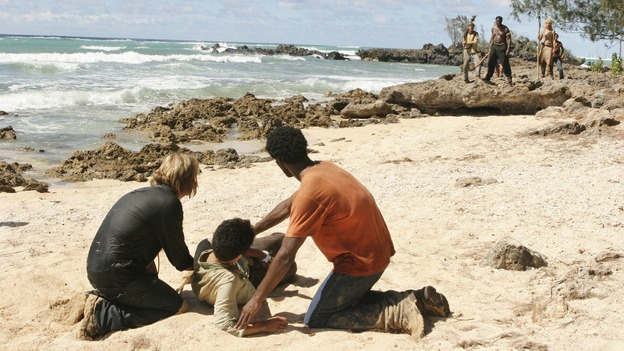 LOST - &quot;Orientation&quot; - Jack, Locke and Kate learn more secrets about the hatch. Meanwhile, after being beaten and taken captive, Sawyer, Michael and Jin wonder if their captors are fellow survivors or the dreaded &quot;Others.&quot; Katey Sagal guest stars, on &quot;Lost,&quot; WEDNESDAY, OCTOBER 5 (9:00-10:00 p.m., ET), on the ABC Television Network. (ABC/MARIO PEREZ)JOSH HOLLOWAY, DANIEL DAE KIM, HAROLD PERRINEAU, ADEWALE AKINNUOYE-AGBAJE