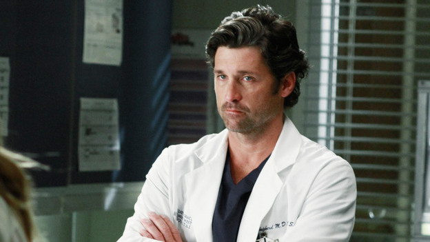 "GREY'S ANATOMY - ""She's Gone"" - In the second hour, ""She's Gone"" (10:00-11:00 p.m.), news of Meredith and Derek's unsteady relationship raises a red flag for Zola's adoption counselor; Alex quickly realizes that he has become the outcast of the group after ratting out Meredith; and Cristina makes a tough decision regarding her unexpected pregnancy. Also, Chief Webber brings Henry in for a last minute surgery, alarming Teddy. ""Grey's Anatomy"" returns for its eighth season with a two-hour event THURSDAY, SEPTEMBER 22 (9:00-11:00 p.m., ET) on the ABC Television Network. (ABC/RON TOM)PATRICK DEMPSEY"